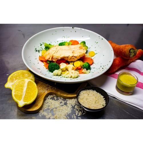 Pavé de Saumon, Riz et Légumes (1 pers)