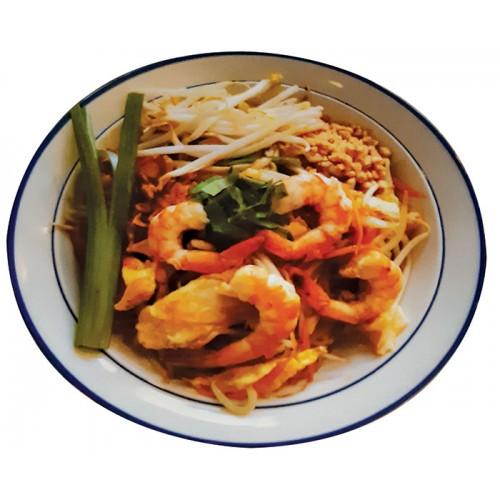 Pad Thaï : Vermicelles de riz sautés, œuf, crevettes, sauce Thaï spéciale avec légumes