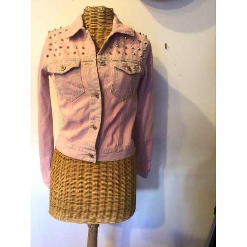 Veste en jeans surteint rose taille 36