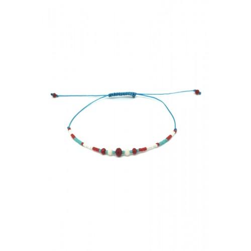 Bracelet cordon coton Perles en verre et noeud coulissant