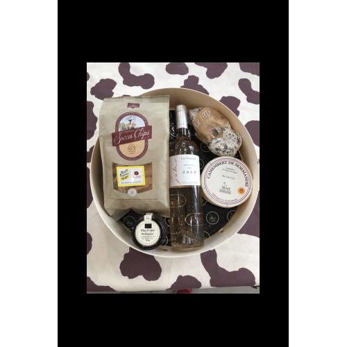 Boite apéritive - Assortiment Vin, Fromages, Saucisson, Pâte d'olives et Soccachips