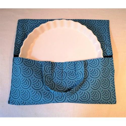 sac porte tarte bleu en coton doublé bleu marine