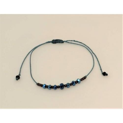Bracelet cordon coton Perles bleues nuit