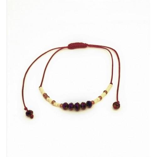 Bracelet cordon coton Perles roses et violines