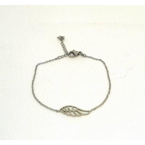 Bracelet en acier inoxydable aile d'ange
