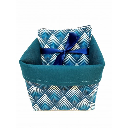 Panier tissus avec 5 lingettes lavable épi bleu