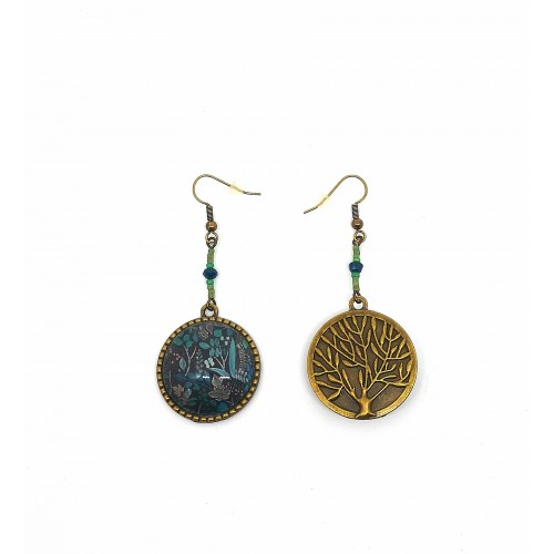 BOUCLES D' OREILLES BRONZE BLEU JUNGLE